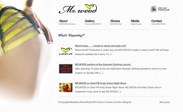 Madeleine Wood website design