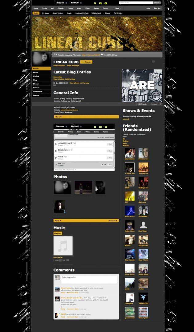 Linearcurb Myspace layout design