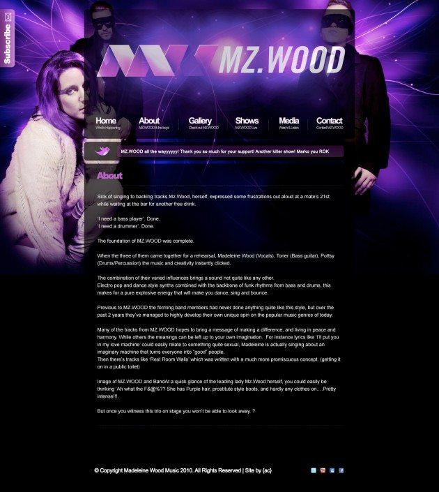 MZWOOD New subpage design