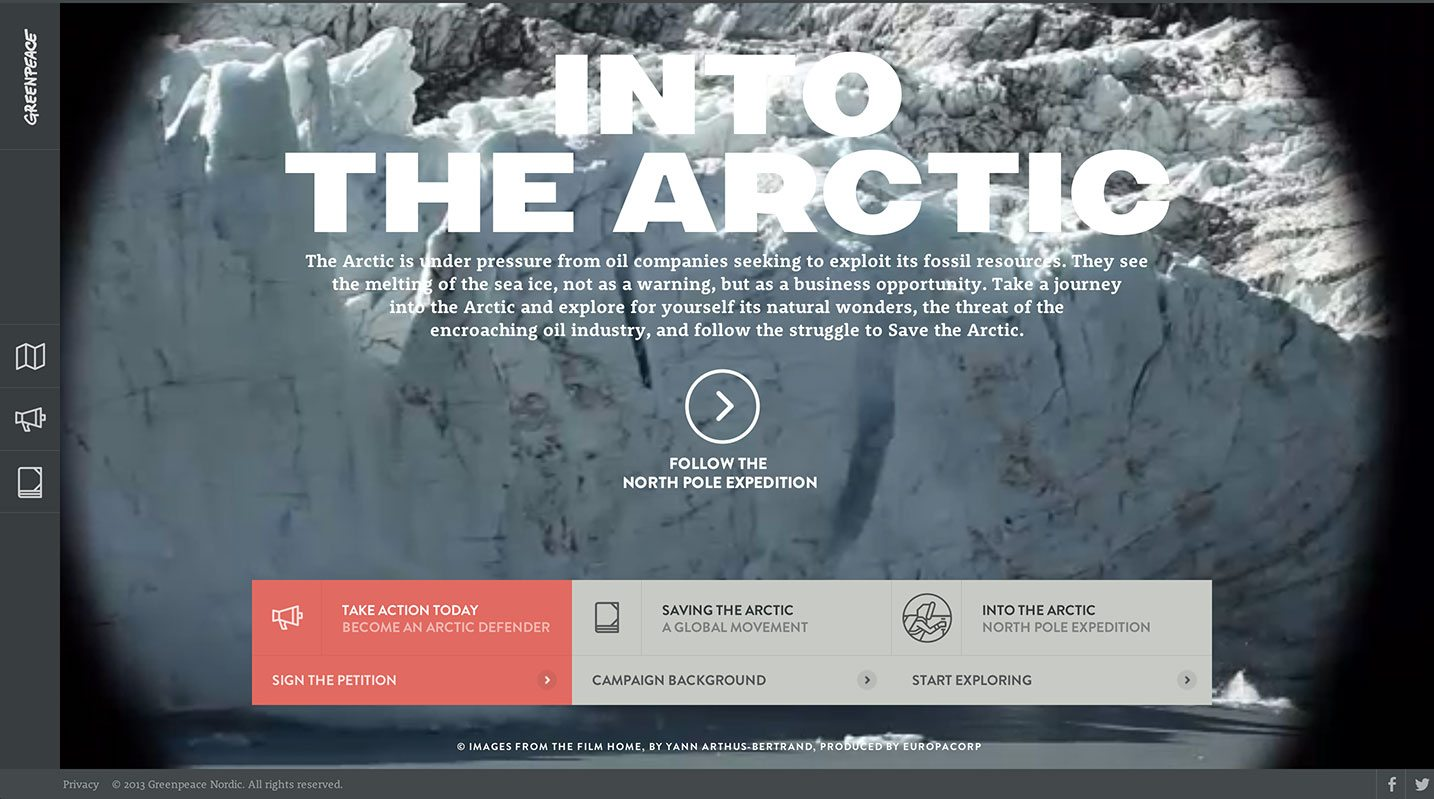 Green Peace - Into the arctic website